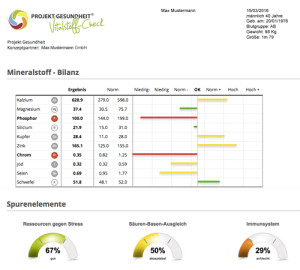 Zell-Check Vitalstoff-Check Auswertung